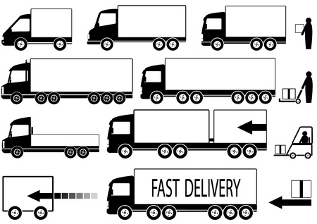 verhuis dozen: set van geïsoleerde vrachtwagens pictogrammen met mensen silhouet en ruimte voor tekst