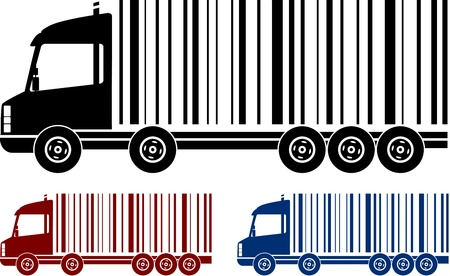 set of heavy colorful shipping trucks with bar code Vector