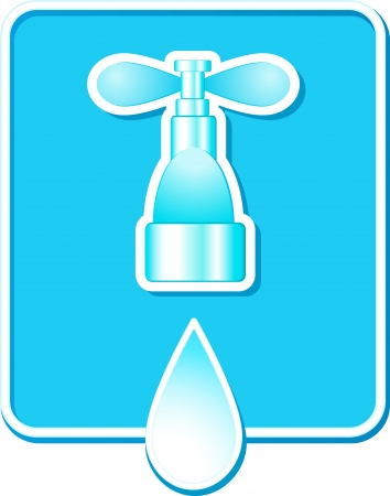 blue sign with falling water drop and home tap Vector