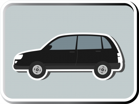 icon with black isolated SUV silhouette on grey background Vector