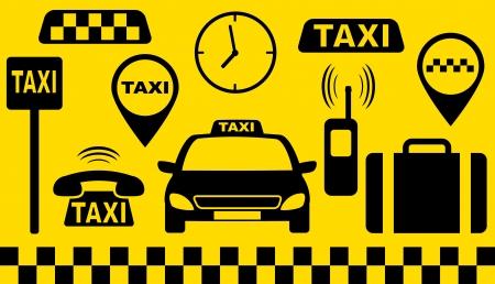 taxi: juego de transporte de objetos de taxi silueta sobre fondo amarillo