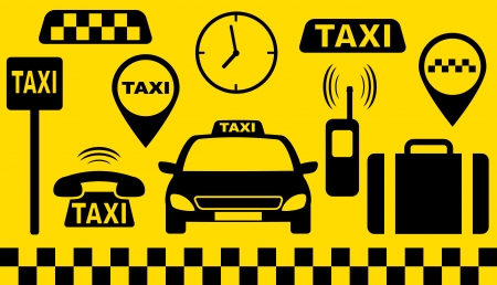 taxi sign: transport set of taxi objects silhouette on yellow background