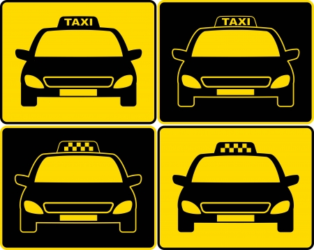 set of cabs silhouette with taxi signs Vector