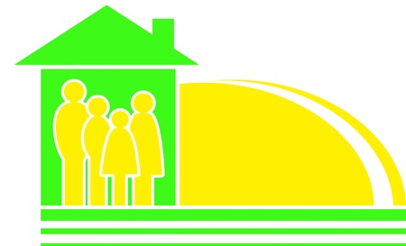 big family sign with yellow sun silhouette and house Vector