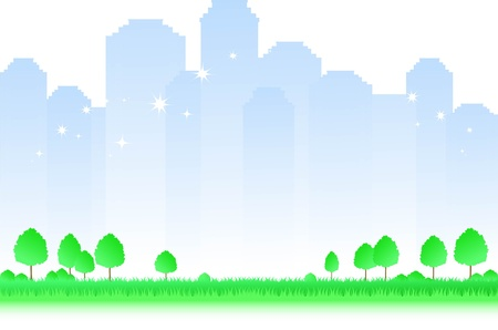 enigmatic: enigmatic morning city landscape with trees and green grass Illustration
