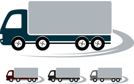 transport set of signs with colorful truck image Vector