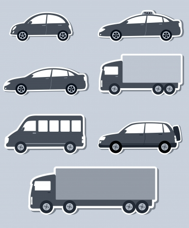 transport set with monochrome isolated cars silhouettes and shadow Vector