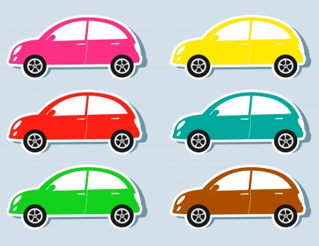 set of isolated colorful retro cars silhouettes Çizim