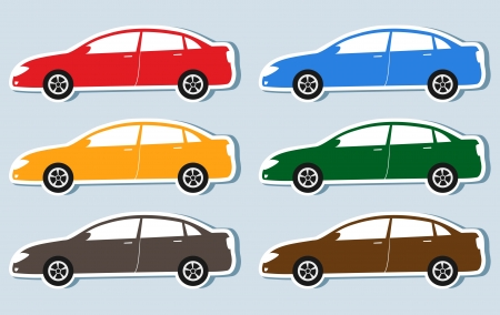 set of colorful isolated luxury cars silhouettes with sticker Vector