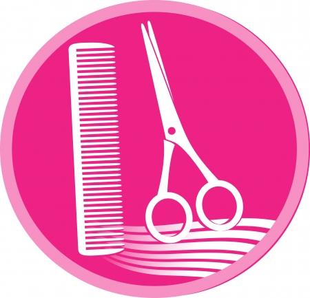 peine: rosa símbolo de peluquería con unas tijeras, el cabello y peine Vectores