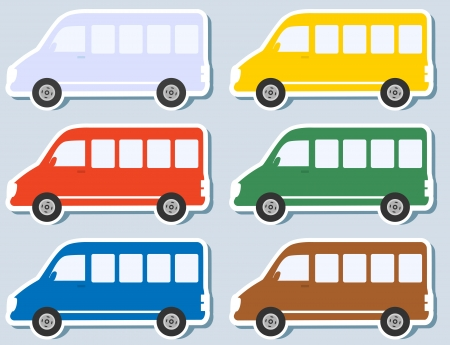 minibus: set of colorful stickers with isolated minibus silhouettes