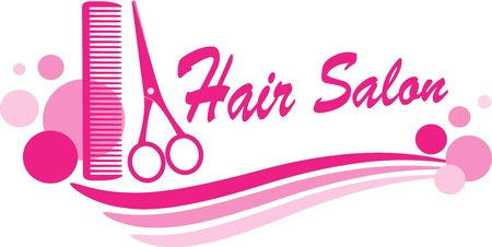 salon: pink hair salon sign with scissors silhouette and design elements Illustration
