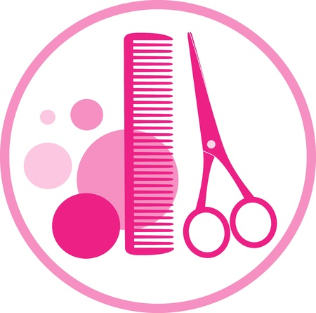 scissors hair: round sign of hair beauty salon with scissors
