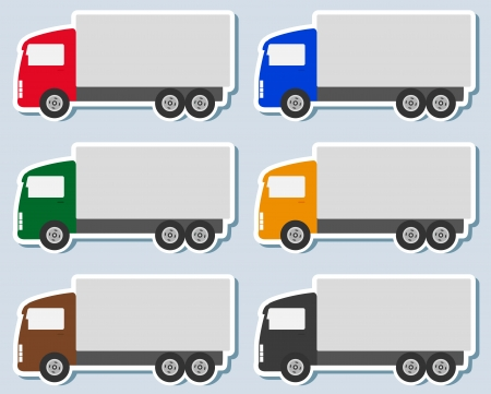 shipping container: transport set of colorful sticker with small truck silhouette