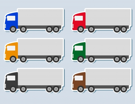 colorful set of stickers with semi truck silhouette Vector