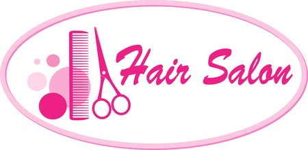 hair scissors:  beauty hair salon signboard with pink scissors and comb Illustration