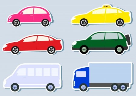 transport set with colorful car, truck and minibus silhouette Vector