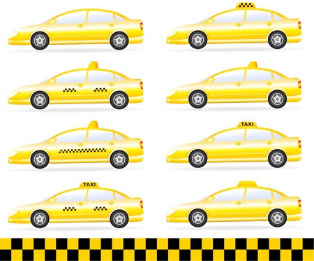 transport set of modern isolated taxi car silhouette Vector