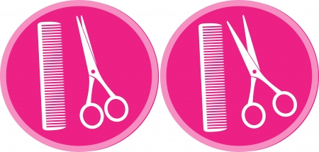 beauty pink set of hair salon sign with scissors and comb Stock Vector - 15809124