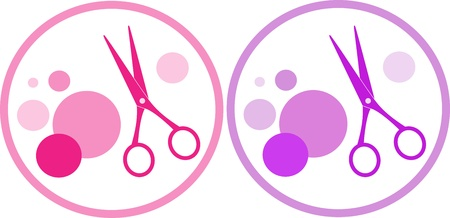 set of colorful  hair salon symbol with scissors and design element Stock Vector - 15913448