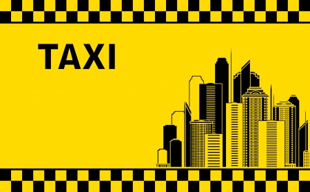 taxi background with city landscape and skyscrapers Vector