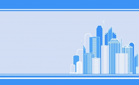 outdoor advertising construction: blue business card with city landscape and skyscraper image Illustration