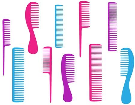 peigne et ciseaux: salon de coiffure jeu de peigne color�s pour les soins du corps Illustration