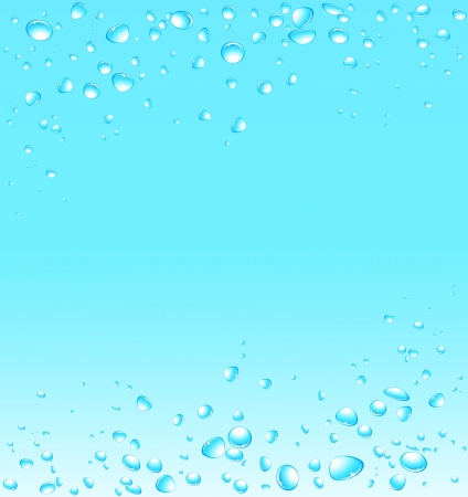 blue water background with many fresh drops and space for text Vector
