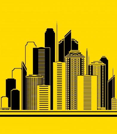 yellow urban construction background with high skyscrapers Vector