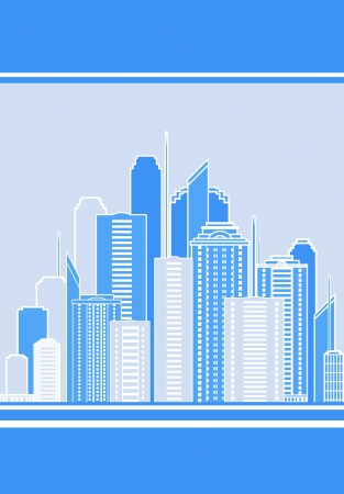 panoramic business:  business card with modern background and city landscape Illustration