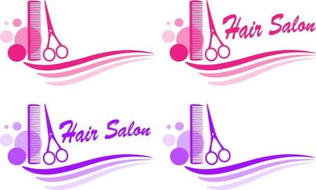 はさみ: カラフルなかわいい理髪店の看板のセット