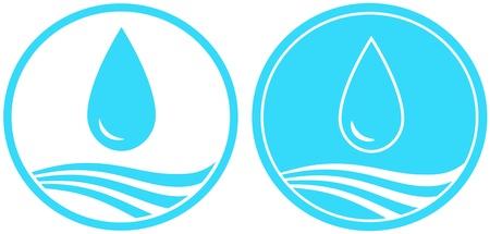 klempner: Set bestehend aus zwei Wasser-Schild mit gro�en Tropfen und Wellen Illustration