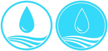 plumbing supply: set of two water sign with big drop and wave Illustration