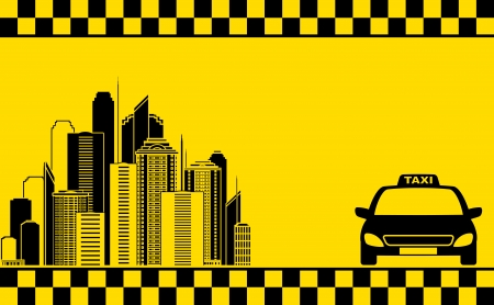 urban yellow business card with taxi and city silhouette Vector