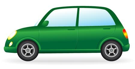 shiny car: isolated english shiny green retro car on white background Illustration