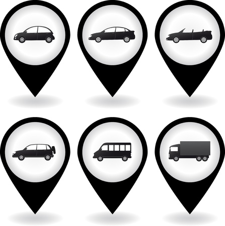 transport set of modern car icon with black pins Stock Vector - 16302472