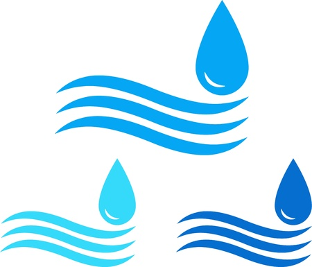 colorful water sign set with sea wave and drop Vector