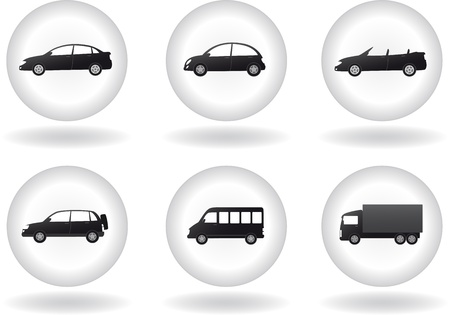 cabrio: set of transport button with car sign in round frame on white