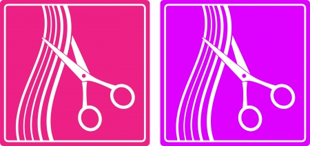 hair cut: colorful set of hair salon sign with hair and scissors silhouette