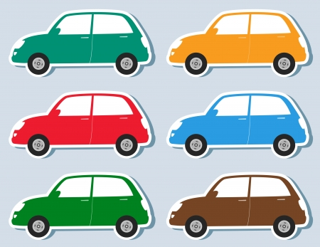transport set of stickers colorful retro car silhouette Vector