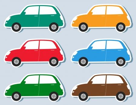 family van: transport set of stickers colorful retro car silhouette Illustration