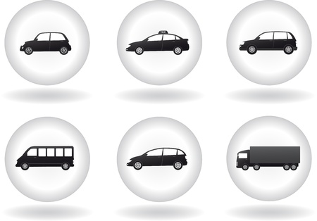 transport set with cars silhouette on the round button background Vector