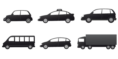 transport set with black cars silhouette on white background Vector