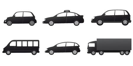 transporter serti de voitures noires, silhouette sur fond blanc Vecteurs