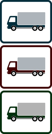 set of colorful icons with shipping truck for transportation Vector
