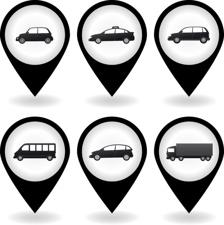 set of black isolated car image on internet pins Vector