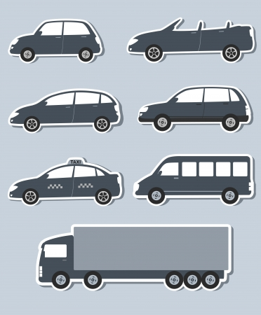 set of paper stickers with grey car image Vector
