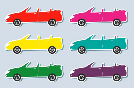 coupe: set of colorful stickers with sport cabriolet images Illustration