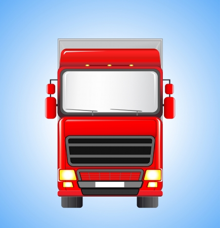 moving shipping truck silhouette on blue sky background Vector