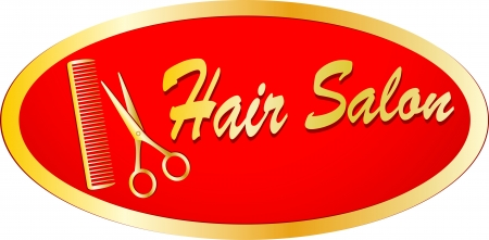 gold sign of hair salon with scissors and comb on red background  Vector